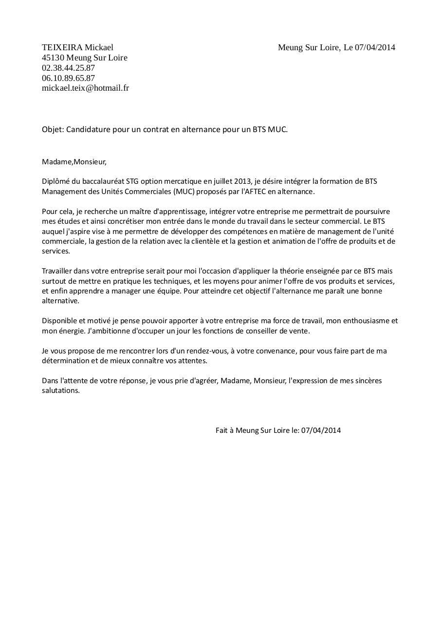 lettre motivationteixeira mickael par user