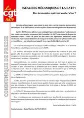2014 07 126 communique de presse cgt ratp sur les escaliers m canique de la ratp