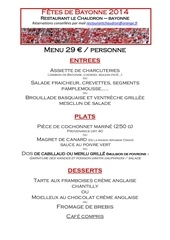 menu fete de bayonne 2014 le chaudron