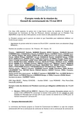 c r conseil communautaire 15 05 2014