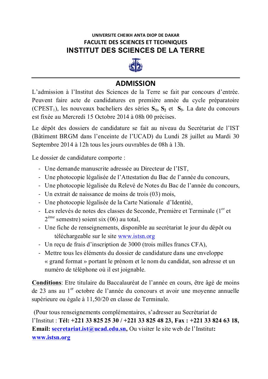 Aperçu du document Coucours Institut des Sciences de la Terre - IST.pdf - page 1/1