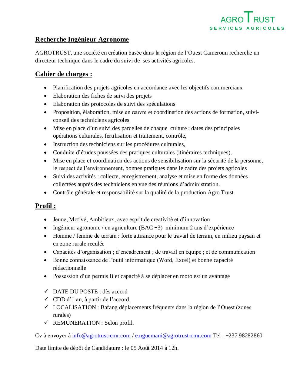 recherche ing u00e9nieur agronome  agrotrust pdf par estelle