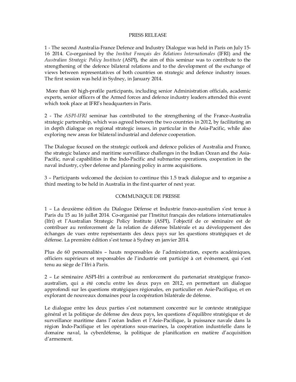 20140722 COMMUNIQUE DE PRESSE English version.pdf - page 1/2
