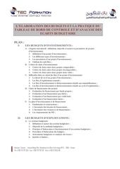 plan de seminaire l elaboration des budgets et la pratique du tableau de bord de controle