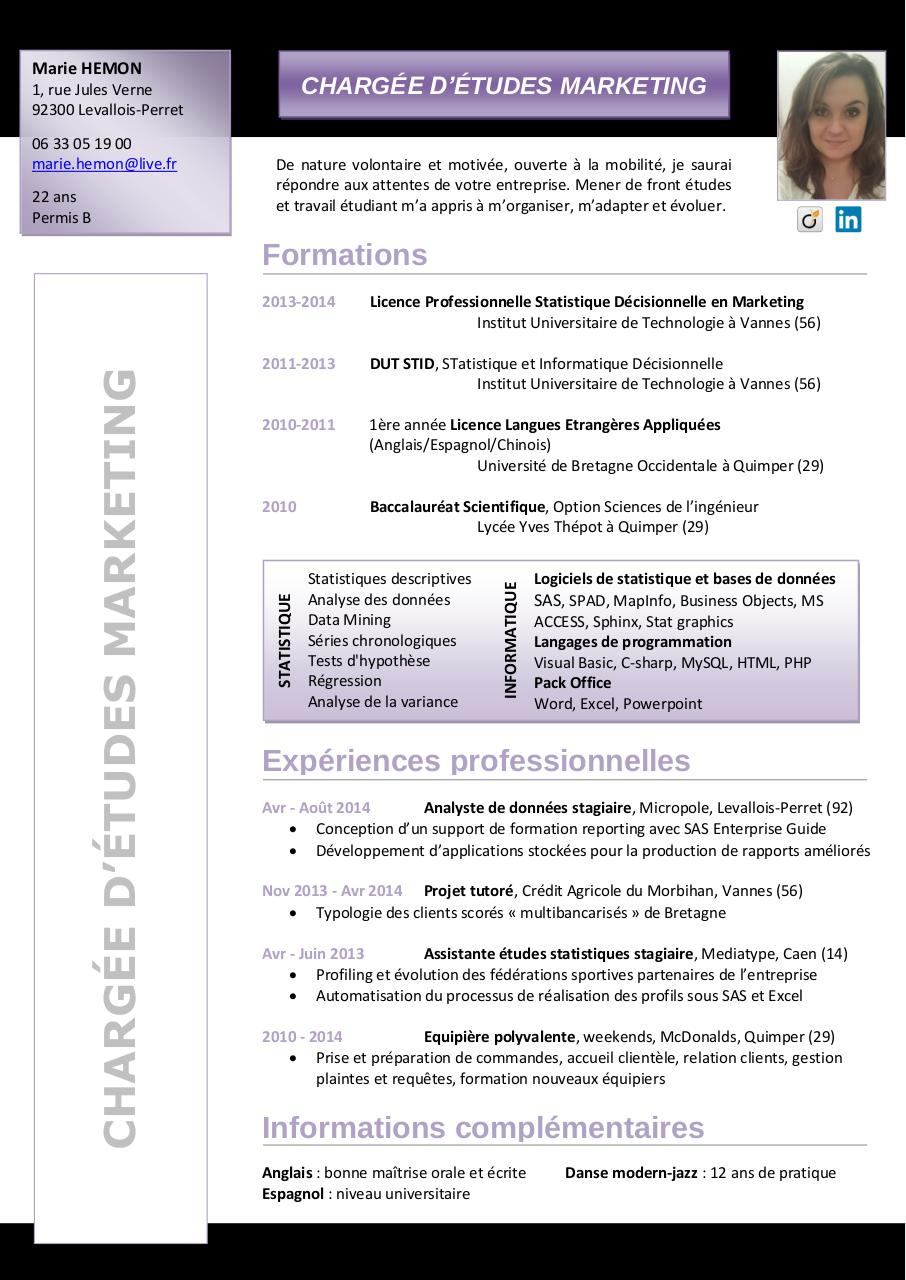 cv pour dut informatique
