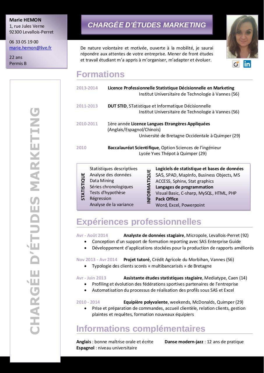 nom pr u00e9nom par free cv - cv marie hemon pdf