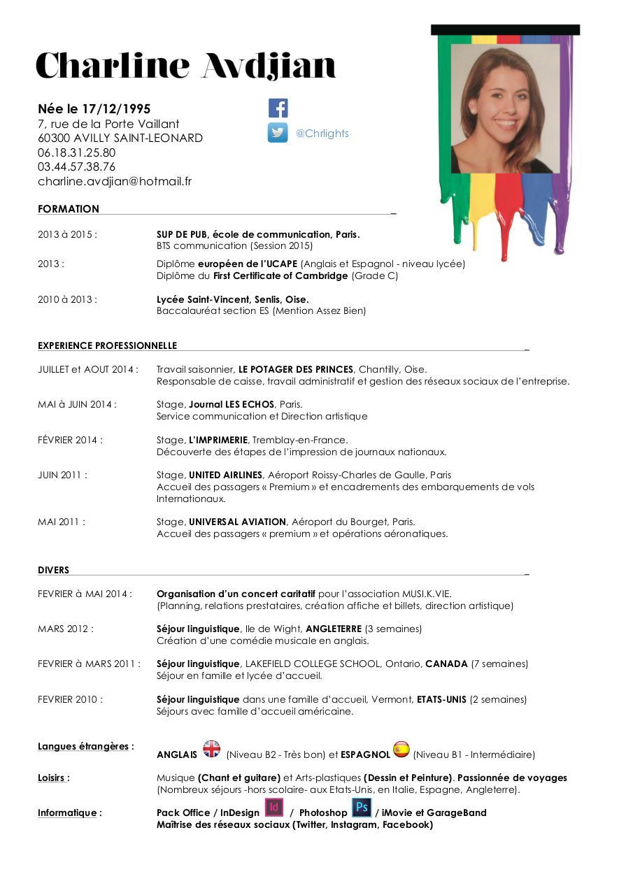 cv doc par charline avdjian - cv pdf