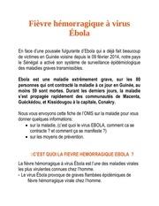 information importante fievre ebola