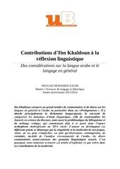 ibn khaldoun linguistique moderne neggad salim