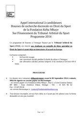 appel international a candidatures bourses 2014