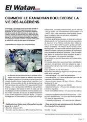 comment le ramadhan bouleverse la vie des algeriens