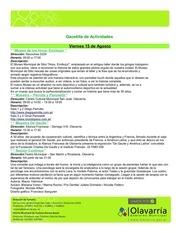 gacetilla de actividades del 15 al 22 de agosto