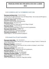 programme des pharmacies de garde 2014