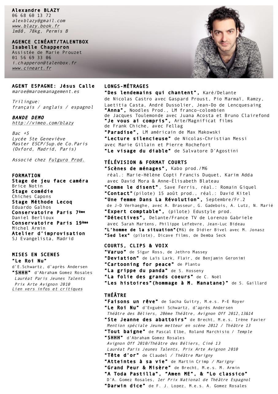 cv alexandre blazy aout2014 copie doc - cv alexandre blazy aout2014 pdf