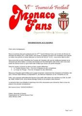 tournoi monaco fans 6 info aux equipes