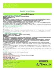 gacetilla de actividades del 22 al 29 de agosto