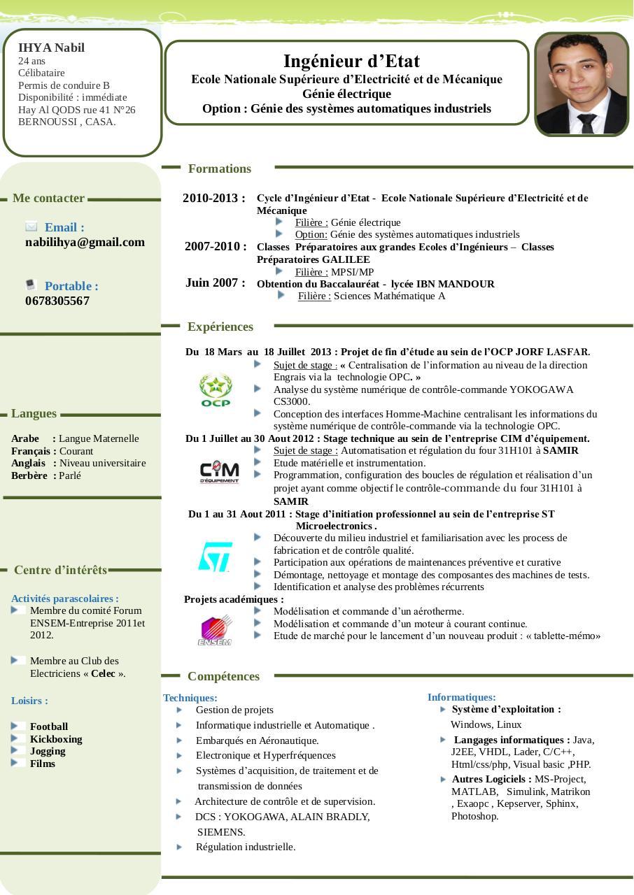 cv nabilihya pdf par free cv