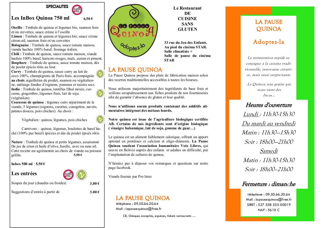Aperçu du document carte LA PAUSE QUINOA v32 sept 2014.pdf - page 1/3