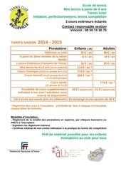 tarifs club annee 2014 2015