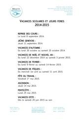 Fichier PDF vacances scolaires 2014 2015