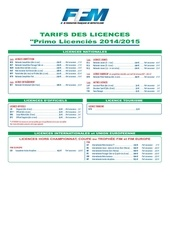 tarif licences 2014 2015 primo licencies