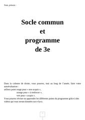 programme 3e et socle