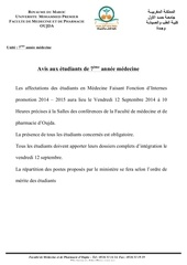 Fichier PDF avis aux etudiants affectation ffi