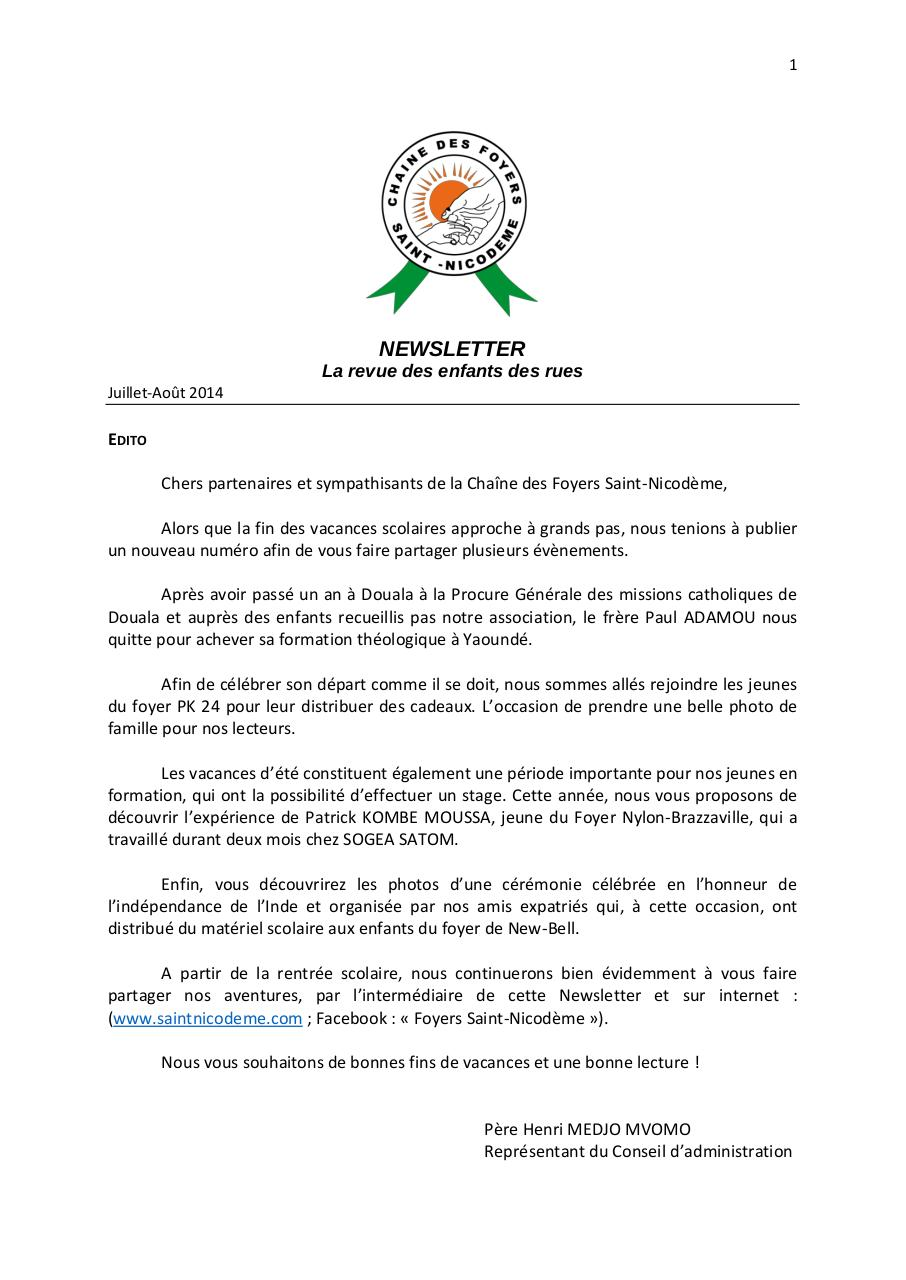 Newsletter FRENCH  Juillet-Août 2014.pdf - page 1/8