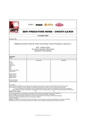 fiche inscription defi predators choisy 2014