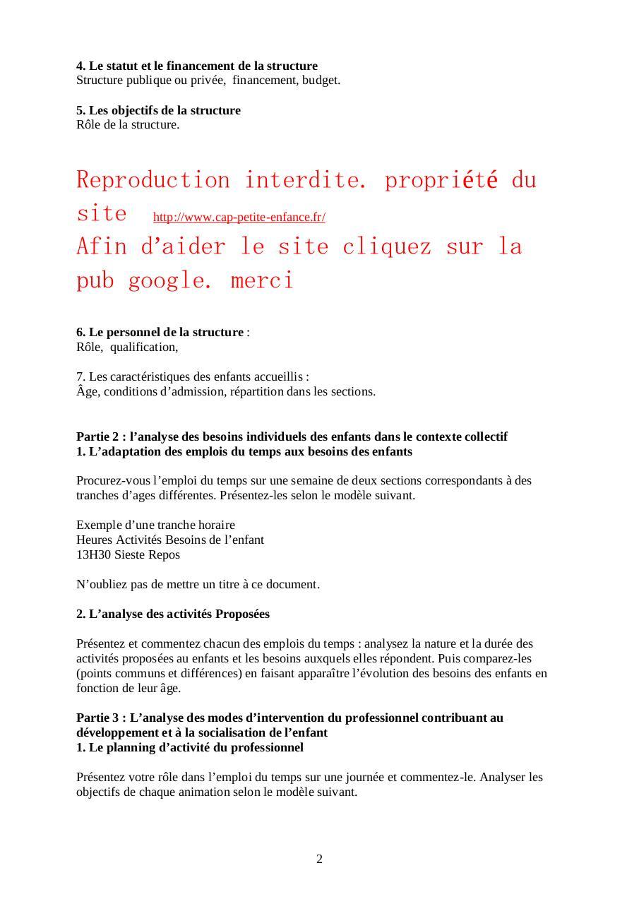 Exemple De Rapport De Stage Cap Petite Enfance Ecole Maternelle