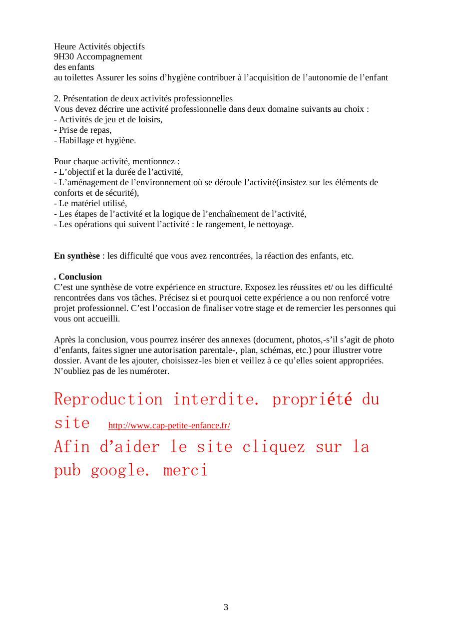 Rapport De Stage Cap Petite Enfance Par Chivas Fichier Pdf