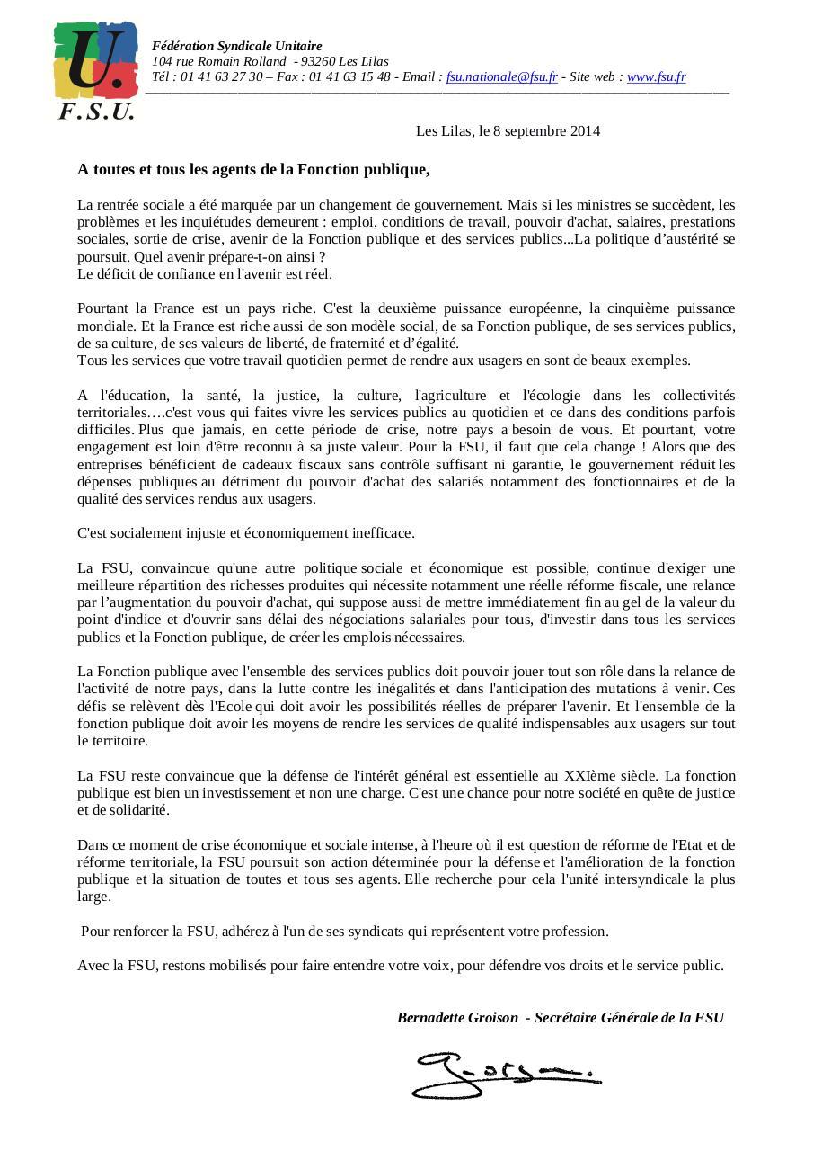 Lettre Aux Agents Sept 2014 Par Nabila Ourahmoune Fsu Lettre Aux
