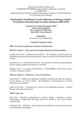 colloque psychanalise freudienne et cercles litteraires 19 20 septembre 2014