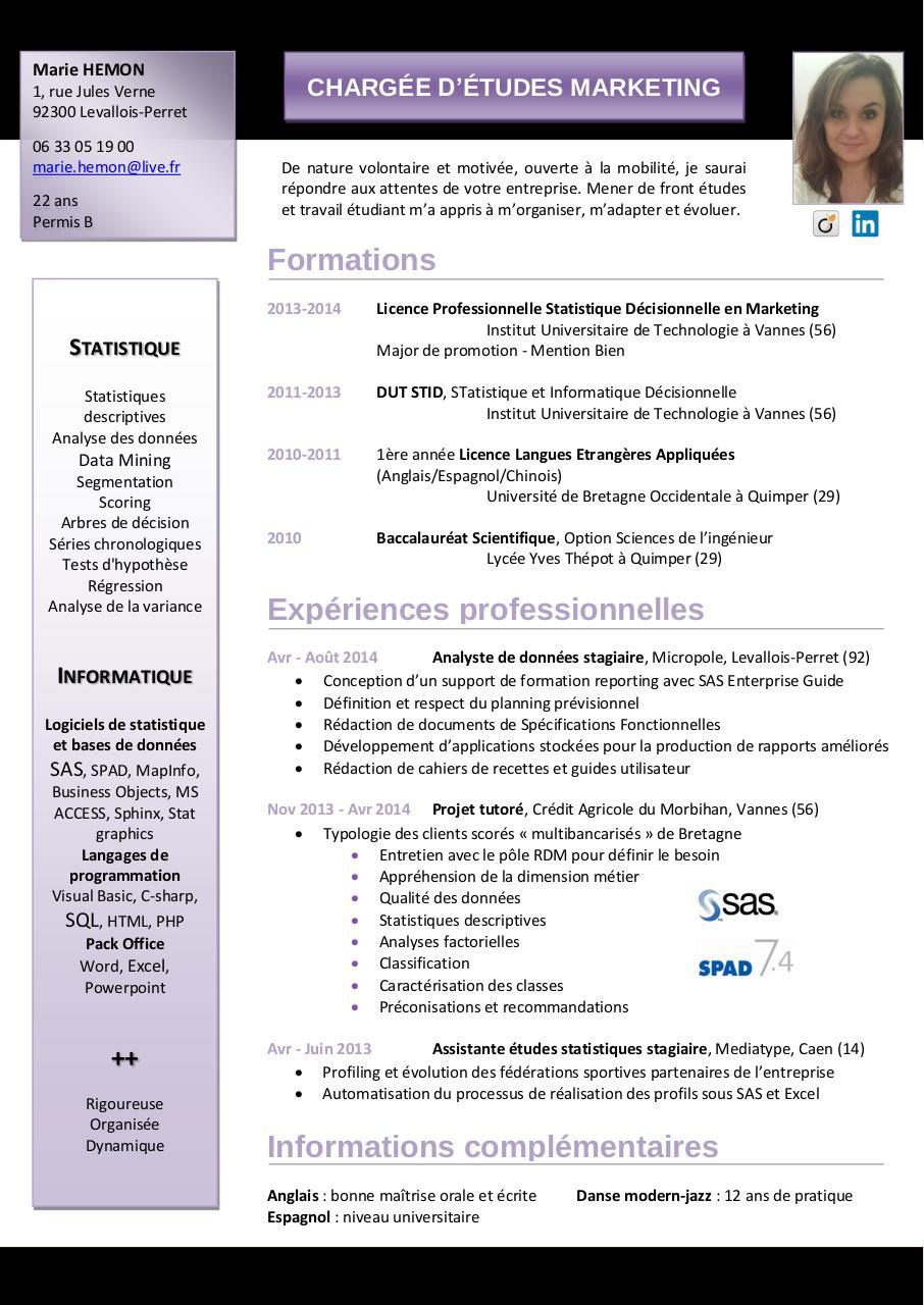 nom pr u00e9nom par free cv - marie hemon cv pdf