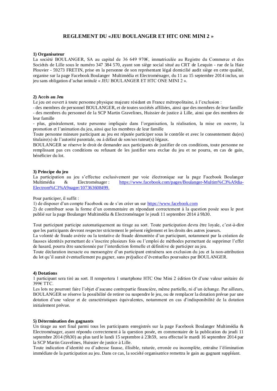 Aperçu du document Reglement jeu Boulanger HTC one mini 2.pdf - page 1/3