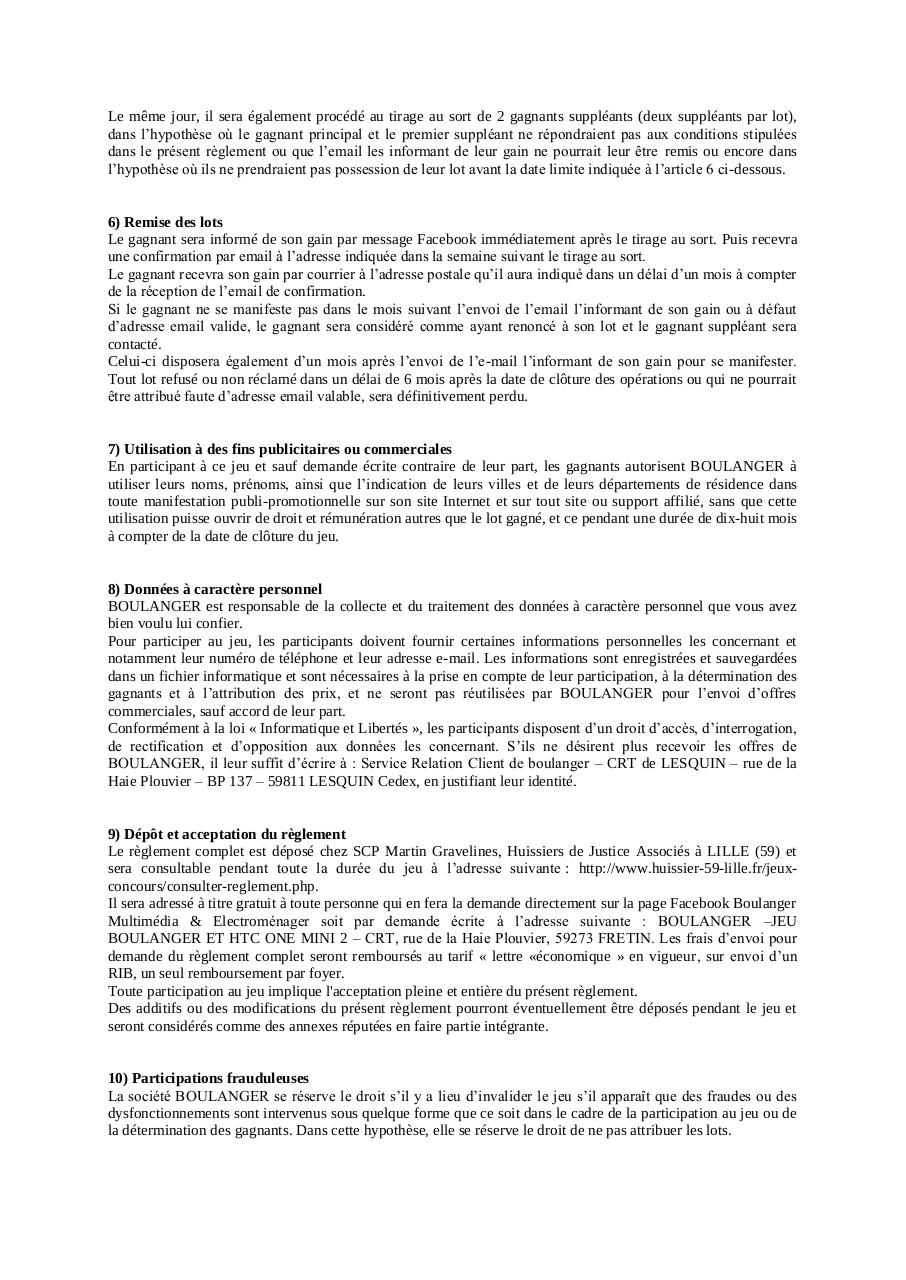 Aperçu du document Reglement jeu Boulanger HTC one mini 2.pdf - page 2/3
