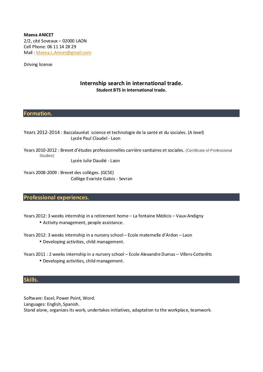 cv anglais pdf par anicet