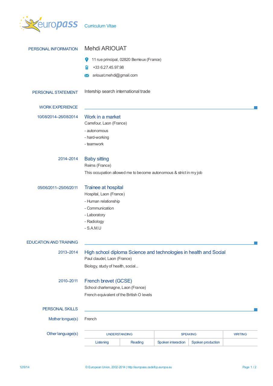 europass cv 20140912 ariouat en - europass ariouatang pdf