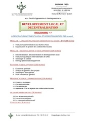 programme licence developpement local et decentralisation 93