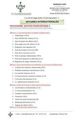 programme master affaires internationales 98