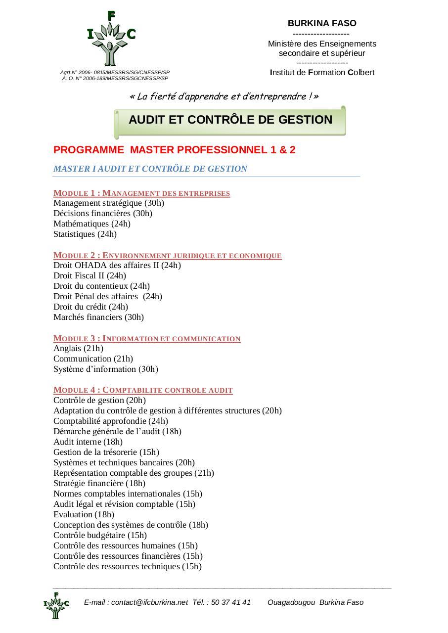 cours de controle de gestion master 1 pdf