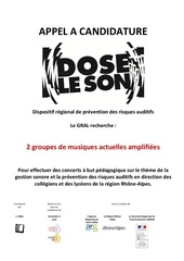 15 dls appel a candidature groupes