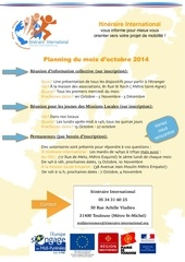 itine raire international planning d octobre 2014