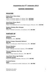 aquisitions bd 4eme trimestre 2013