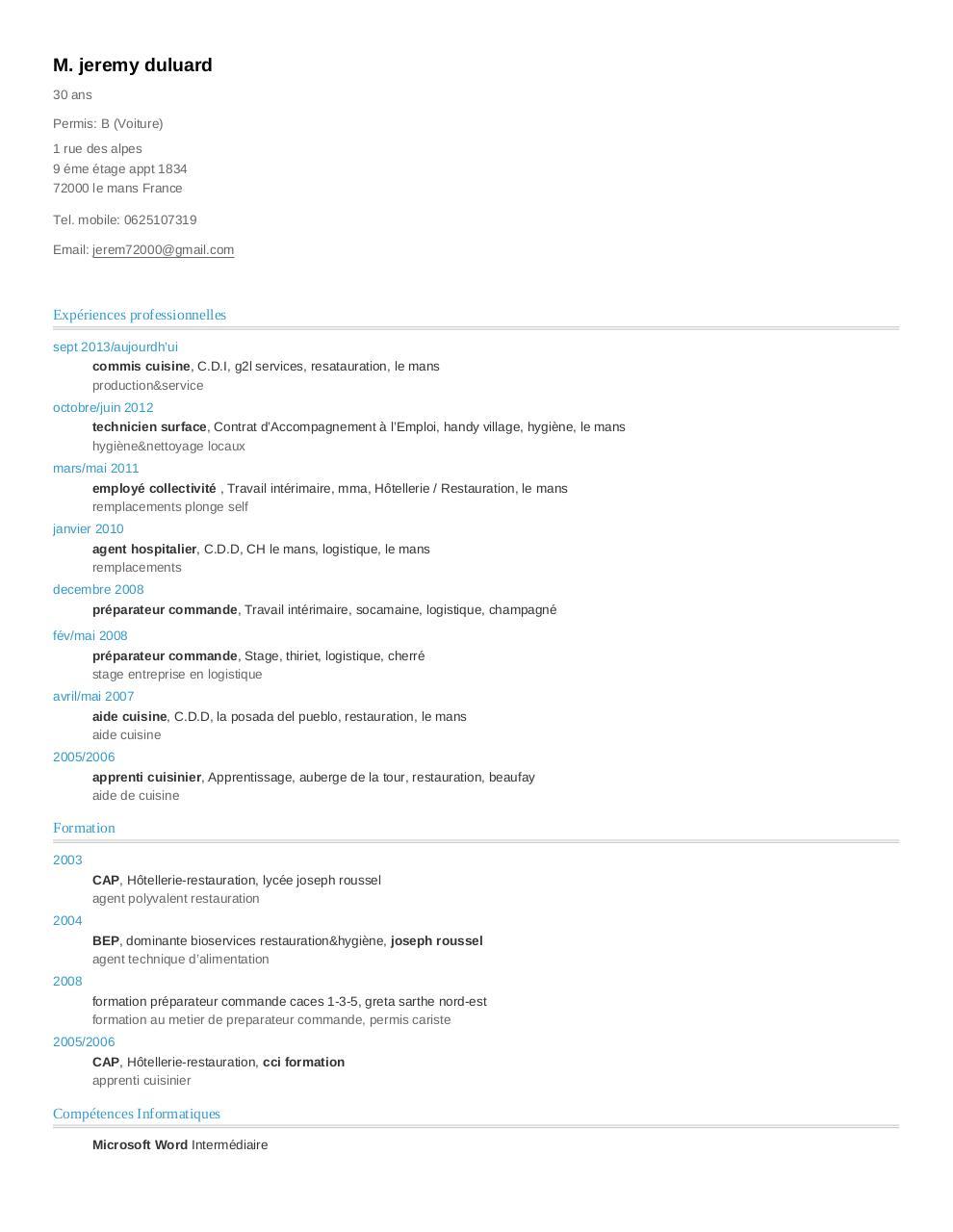 cv de jeremy duluard au format a4 - cv 2014 pdf