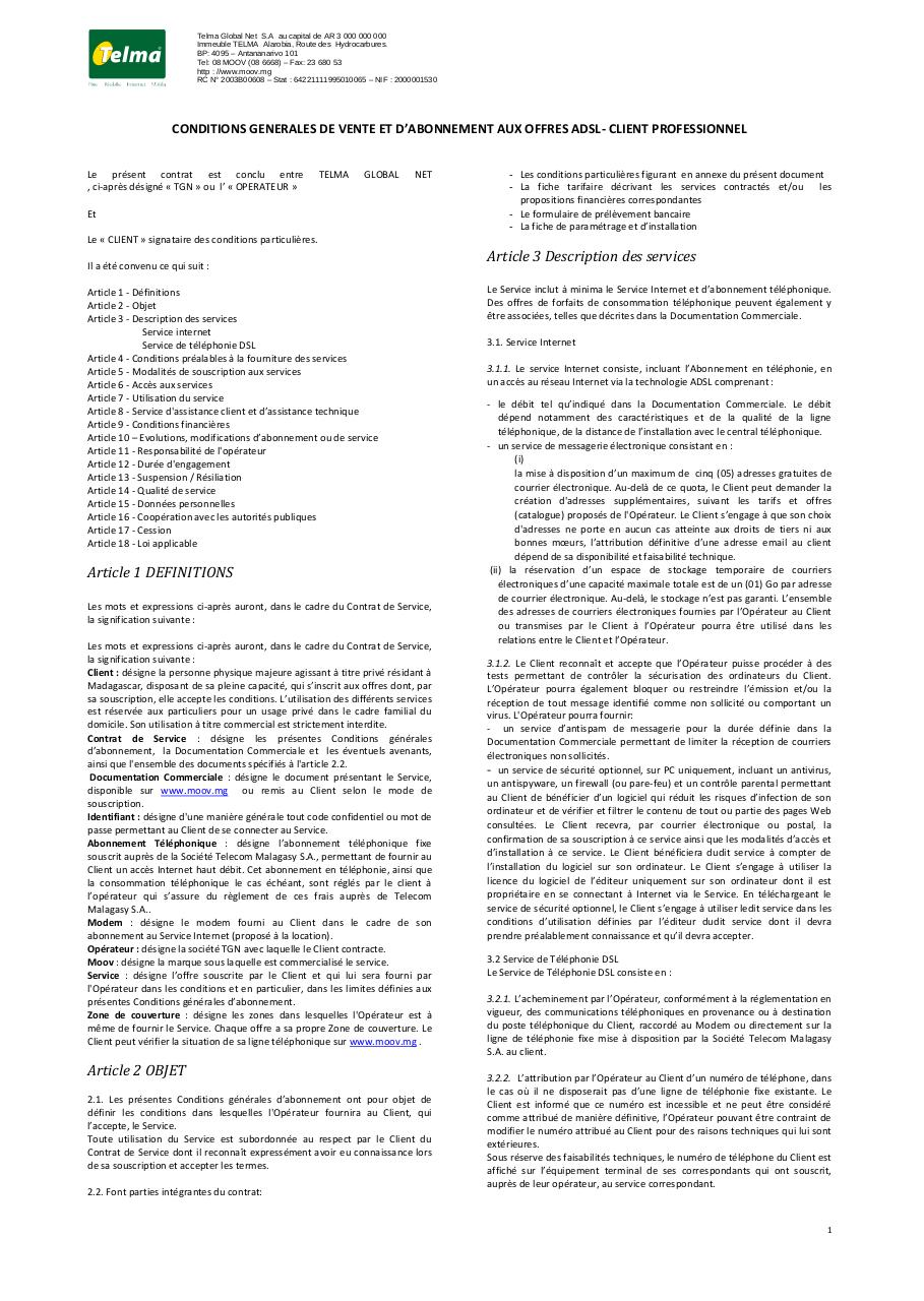 Aperçu du document Conditions Générales de Ventes ADSL_SDSL Pro.pdf - page 1/8