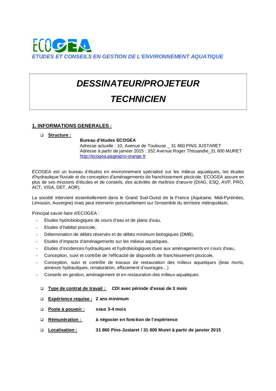 offre technicien dessinateur projeteur 2014 06 25 par