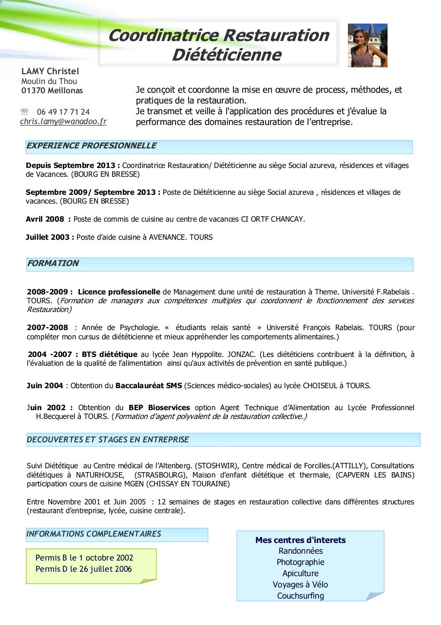 Modele cv restauration collective cv anonyme for Offre emploi agent de restauration