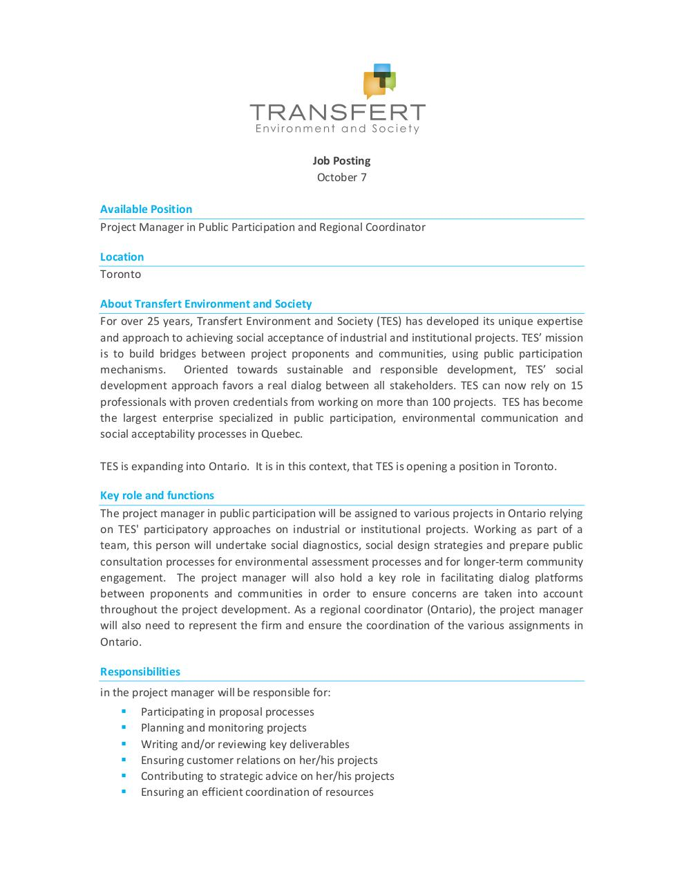Job Offer TES - Project Manager To.pdf - page 1/2