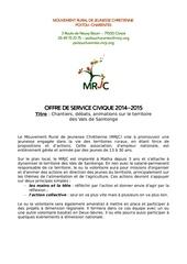 offre volontariat mrjc17 2014 2015